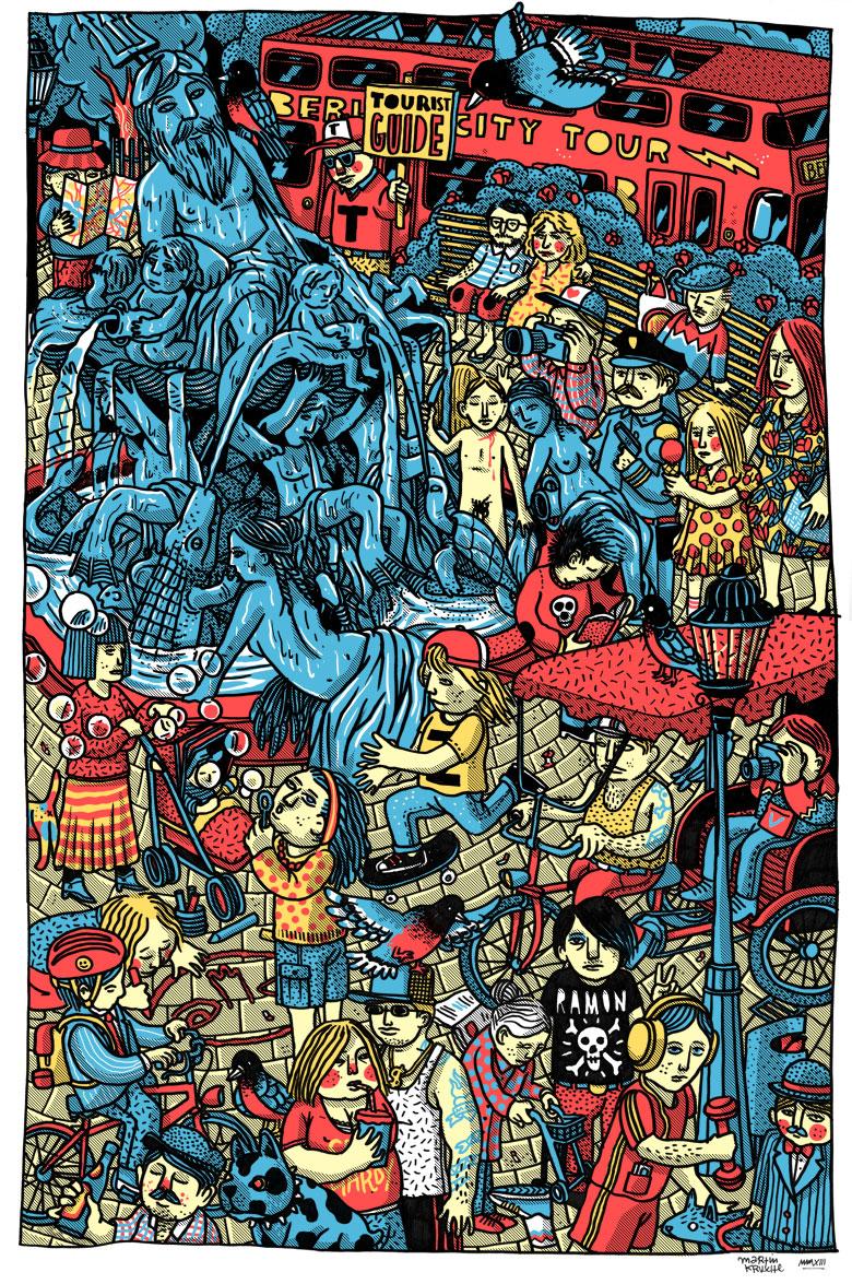 Martin Krusche - Illustration- »Alexanderplatz-Neptunbrunnen«