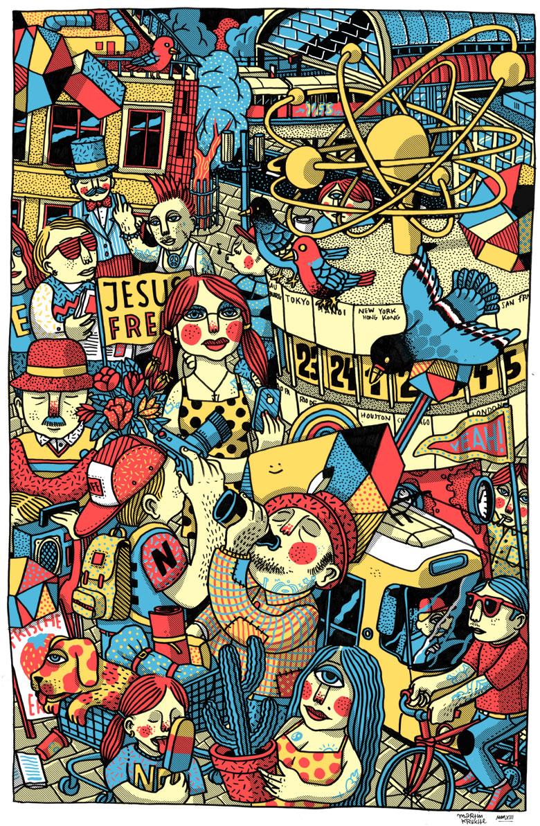 Martin Krusche - Illustration- »Alexanderplatz-Weltzeituhr«
