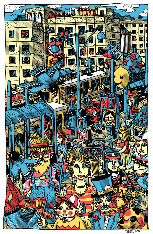 Martin Krusche - Illustration- »Alexanderplatz-Karl-Liebknecht-Strasse«