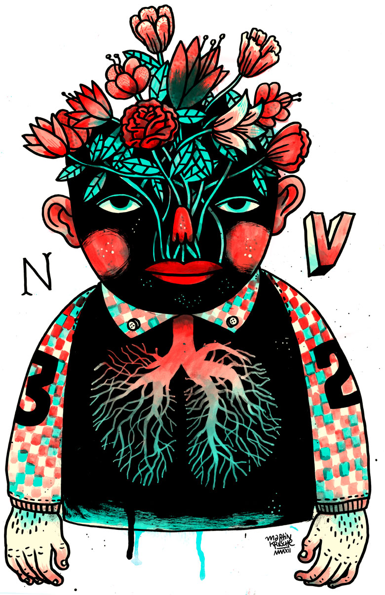 Martin Krusche - Illustration - »Flowerhead Man«