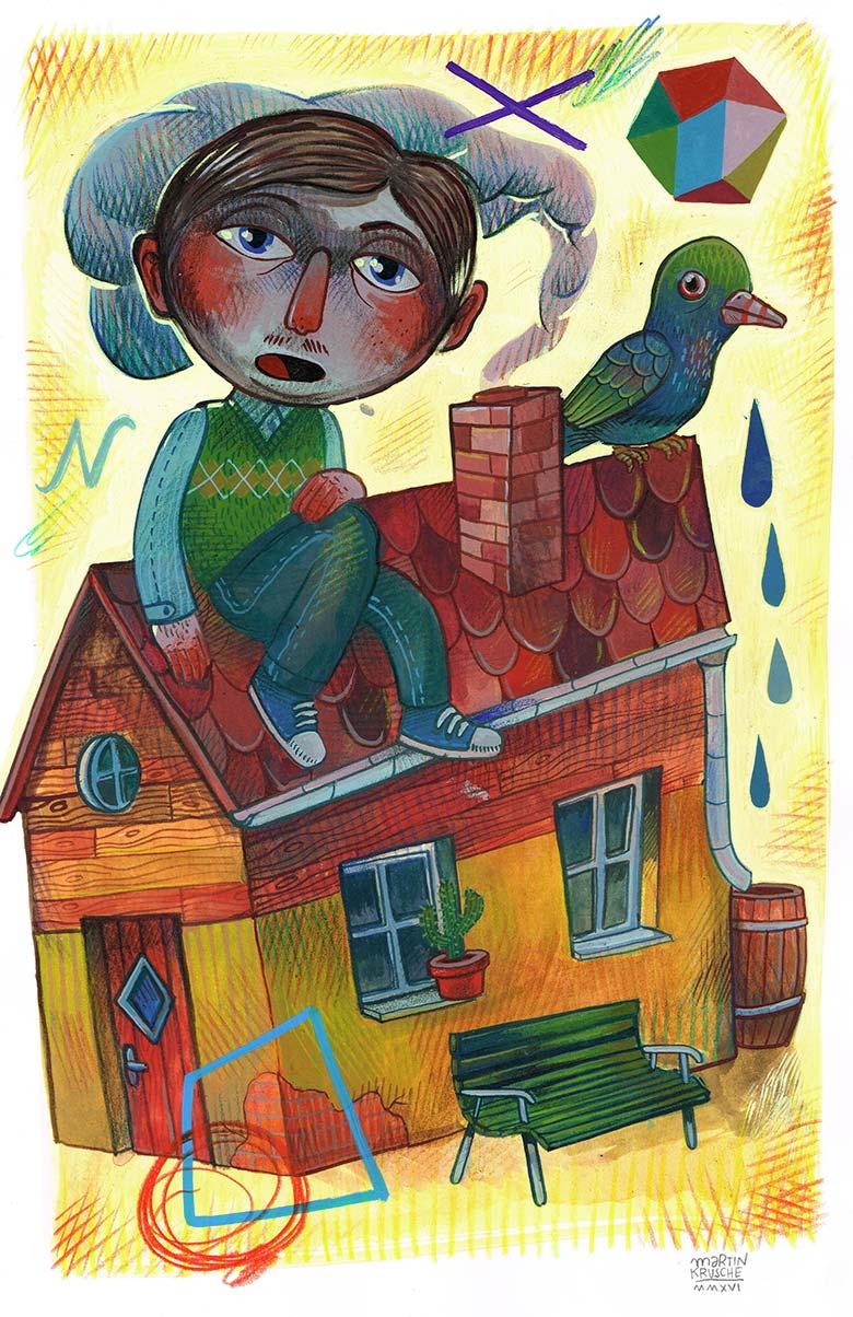 »Sitting on a house« Illustration - Martin Krusche