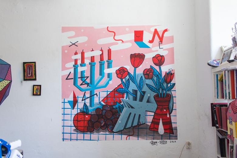 Illustration, Mural, Wallpainting »Studiowall Nr.5« - Martin Krusche und Vidam