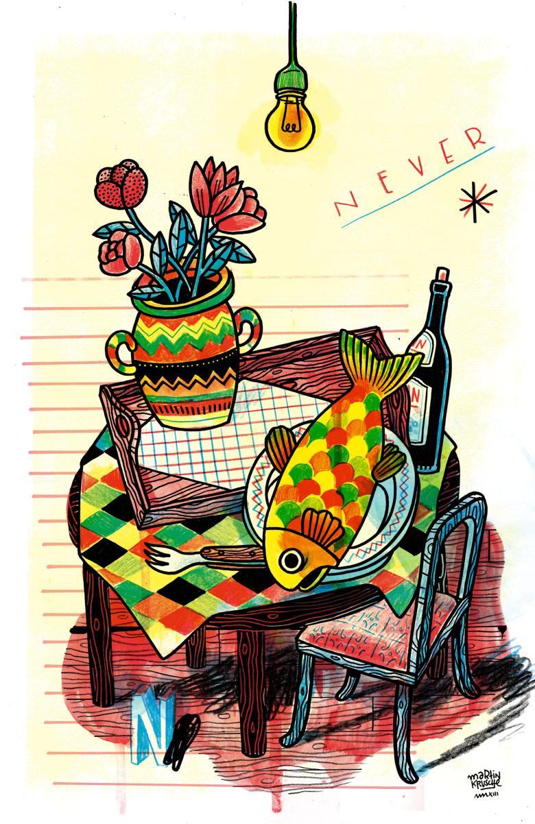 Martin Krusche - Illustration- »Forelle zu Tisch«