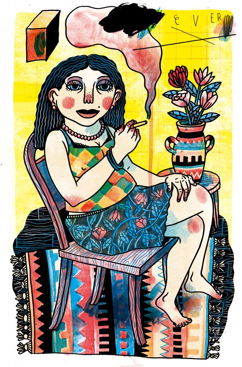 Martin Krusche - Illustration- »Frau mit Teppich«