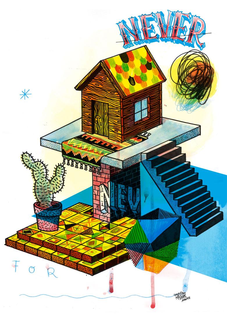 Martin Krusche - Illustration- »Holzhütte«