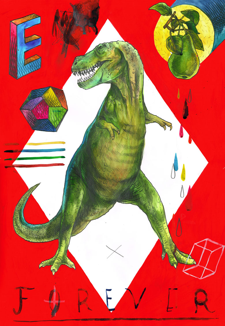 Martin Krusche - Illustration- »Rhombus Tryptichon #3: T-Rex«