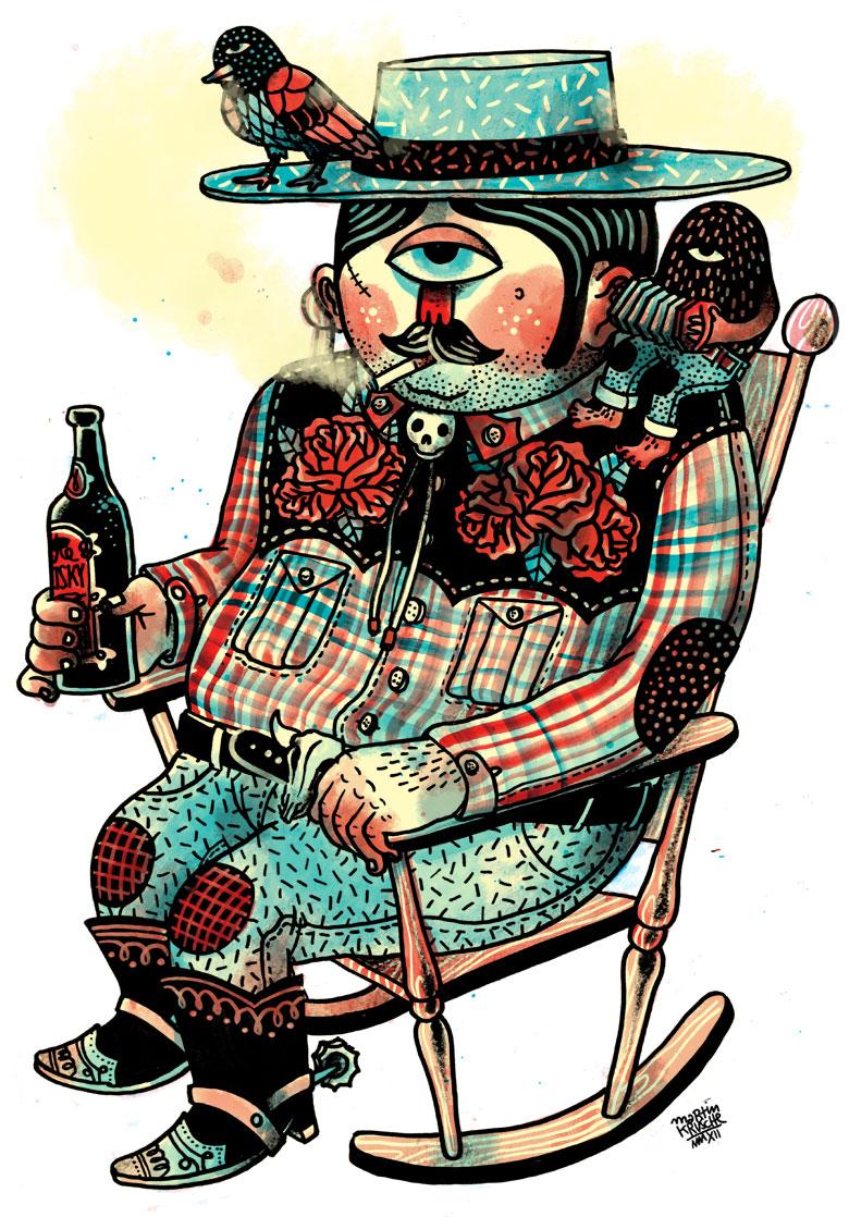 Martin Krusche - Illustration - »Schaukelstuhlcowboy«
