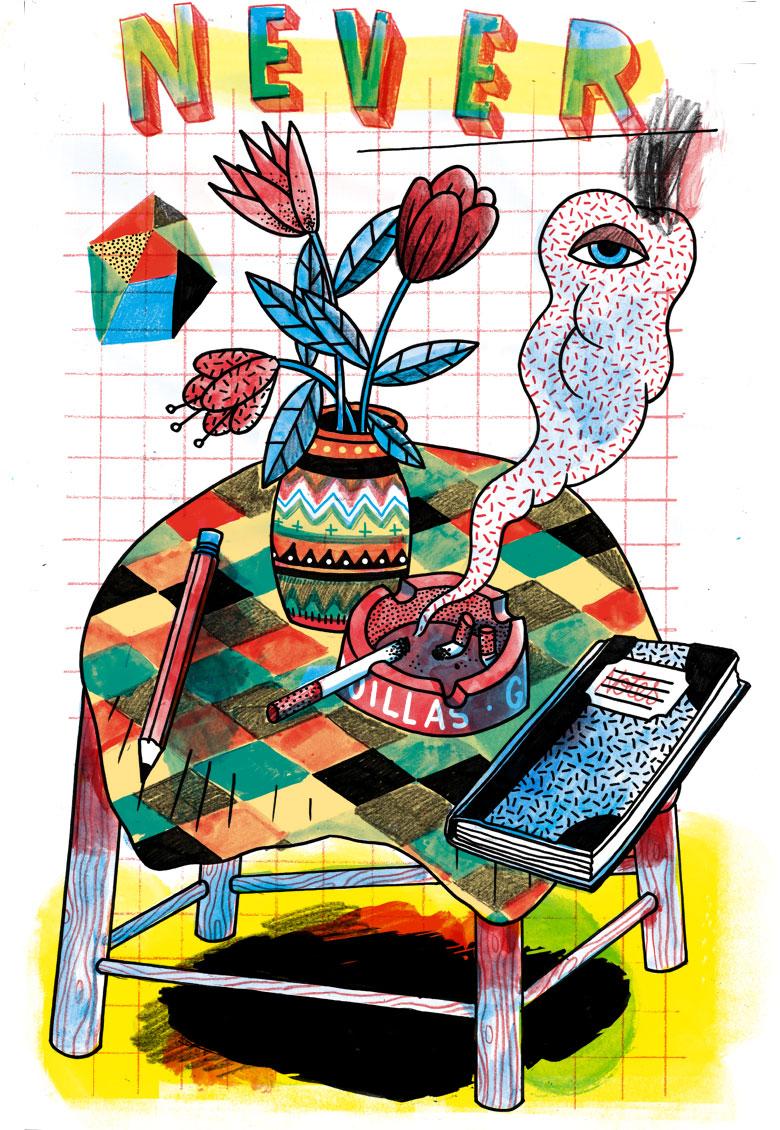 Martin Krusche - Illustration- »Tisch mit Aschenbecher«